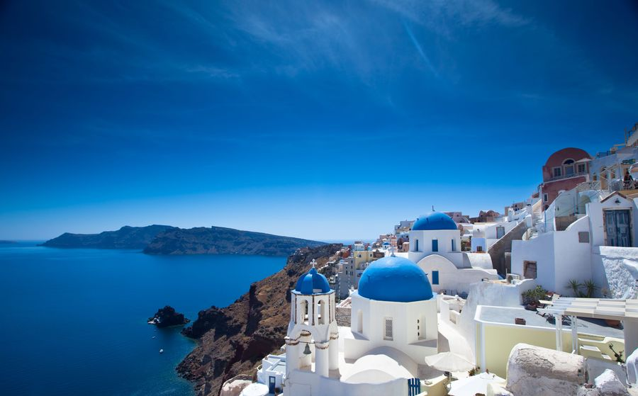 Gorgeous Santorini scene in the late afternoon
